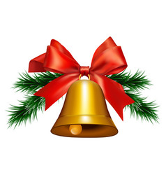bell with a red ribbon and spruce branches vector image