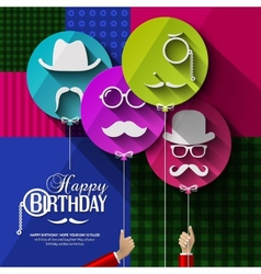 Birthday card Colorful balloons in flat design vector