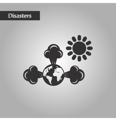 Black and white style earth greenhouse effect vector