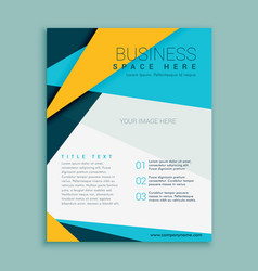 blue and yellow geometric brochure flyer design vector image
