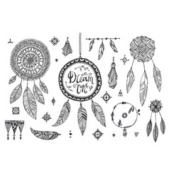 boho decor set collection hand drawn vector image