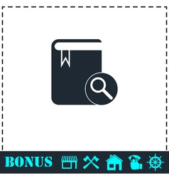 Book search icon flat vector