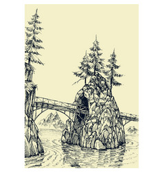 bridge over river hand drawing vector image