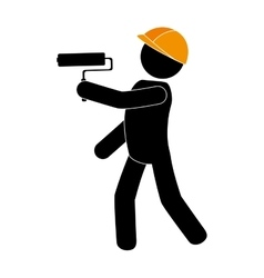 Builder worker construction paint vector