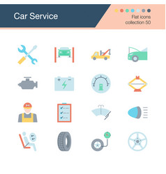 car service icons flat design collection 50 for vector image