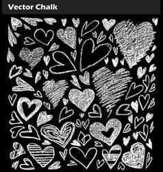 chalk collection of grunge hearts vector image