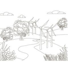 Children picture art wind generator standing in vector