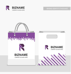 company r logo on shopping bags with purple theme vector image
