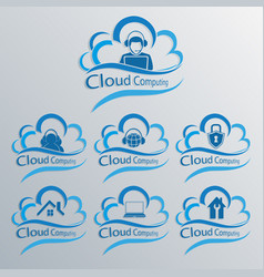 Computer cloud set vector