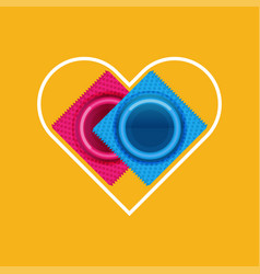 condoms in flat style vector image
