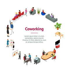 coworking people and equipment 3d banner card vector image