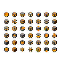 cube logo design cubes 3d set template graphic vector image