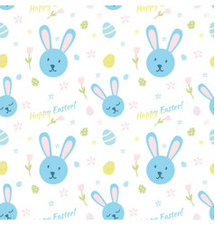 cute happy easter pattern with rabbits vector image
