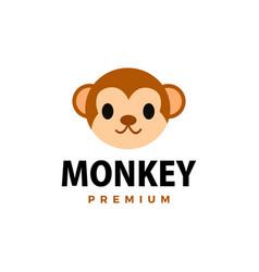 cute monkey flat logo icon vector image