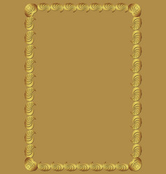 decorative golden frame on golden background vector image