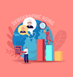 demographic aging concept statistics data for vector image