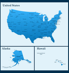 Detailed map of usa including alaska and hawaii vector