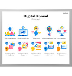Digital nomad icons flat pack vector