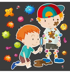 Dirty boy with bacteria vector