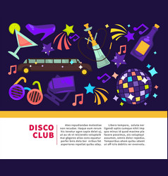 disco club promotional poster with attributes for vector image vector image