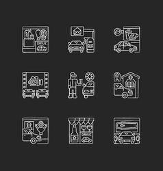 Drive in services chalk white icons set on black vector