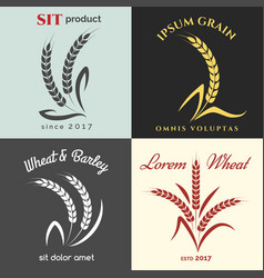 Ears wheat logo set vector