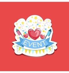 Event template label cute sticker with heart and vector