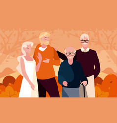Family and shrubs in autumn season design vector