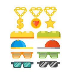 fashion gold jewelry sunglasses retro accessory vector image