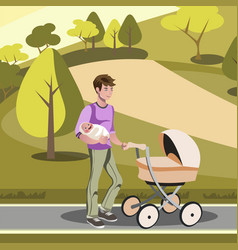 Father pushing a stroller in the park vector