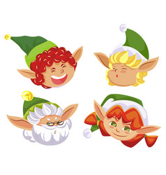 four christmas elves fairy characters having fun vector image
