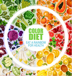 Fruits and vegetables color diet poster vector