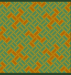 Golden yarga seamless woolen knitted pattern vector