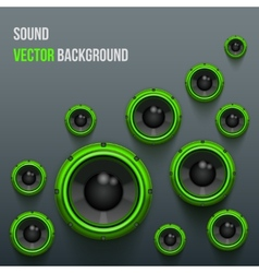 Green Sound Load Speakers on dark background vector image