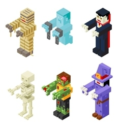 Halloween Monsters Icons Set Flat Design Isometric vector
