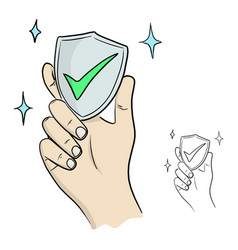 Hand hold shield with green check mark vector