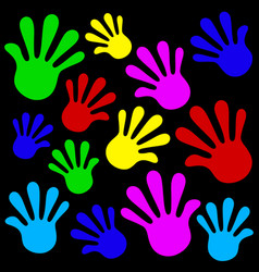 Handprints background vector