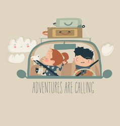 happy family with pet travelling car vector image
