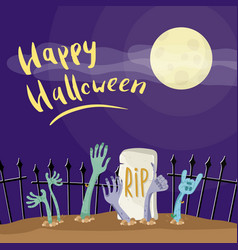happy halloween poster with zombies hands vector image
