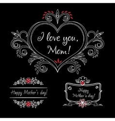 Happy mothers day vintage elements with flowers on vector
