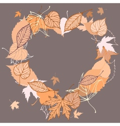 Heart shaped wreath made of autumn leaves vector
