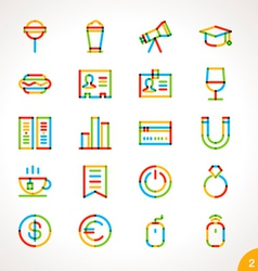 Highlighter line icons set 2 vector