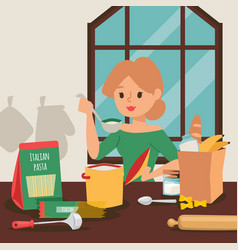 Housewife cooking dinner in kitchen vector