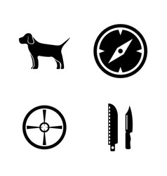 hunting simple related icons vector image
