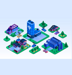 intelligent city building banner isometric style vector image