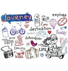 journey set funky doodles vector image