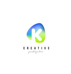 k letter logo design with oval green blue shape vector image