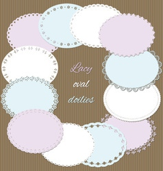 Lacy oval doilies set vector
