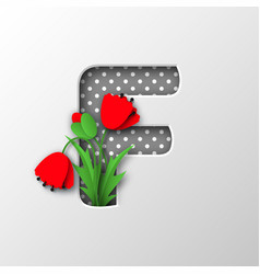 letter f with paper cut poppy flowers vector image