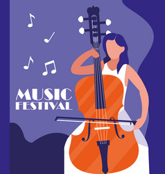 Man playing cello instrument vector